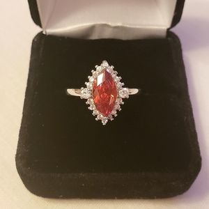 Jewelry - Nib REALRuby & Diamond Silver Sterling Ring Size 8
